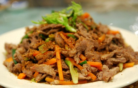 Lamb strips and veggies with spices