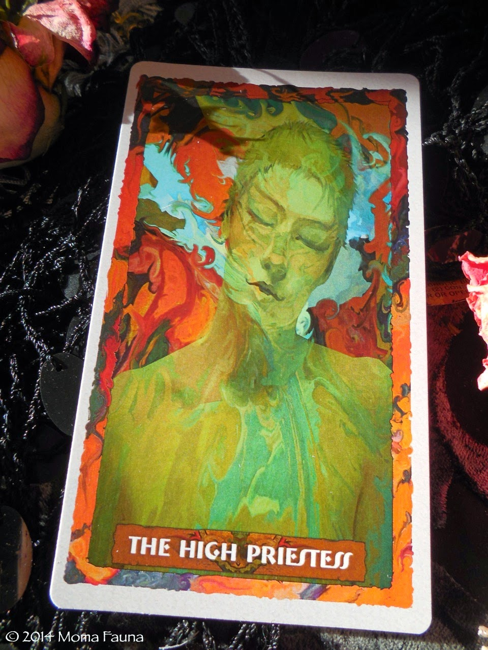 The High Priestess, so sleepy, from the Portico Tarot by Elizabeth Jordan Leggett.
