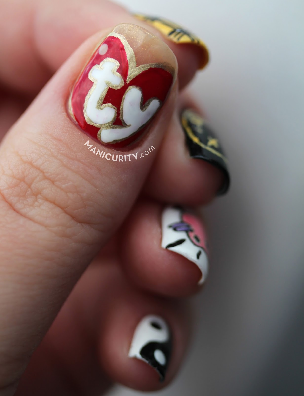The Digit-al Dozen: Whatever! This 90s Freehand Nail Art Skittle Set is DA BOMB! featuring yin-yang, Tamagotchi, Nirvana, Clueless, and Ty Beanie Babies   Manicurity.com