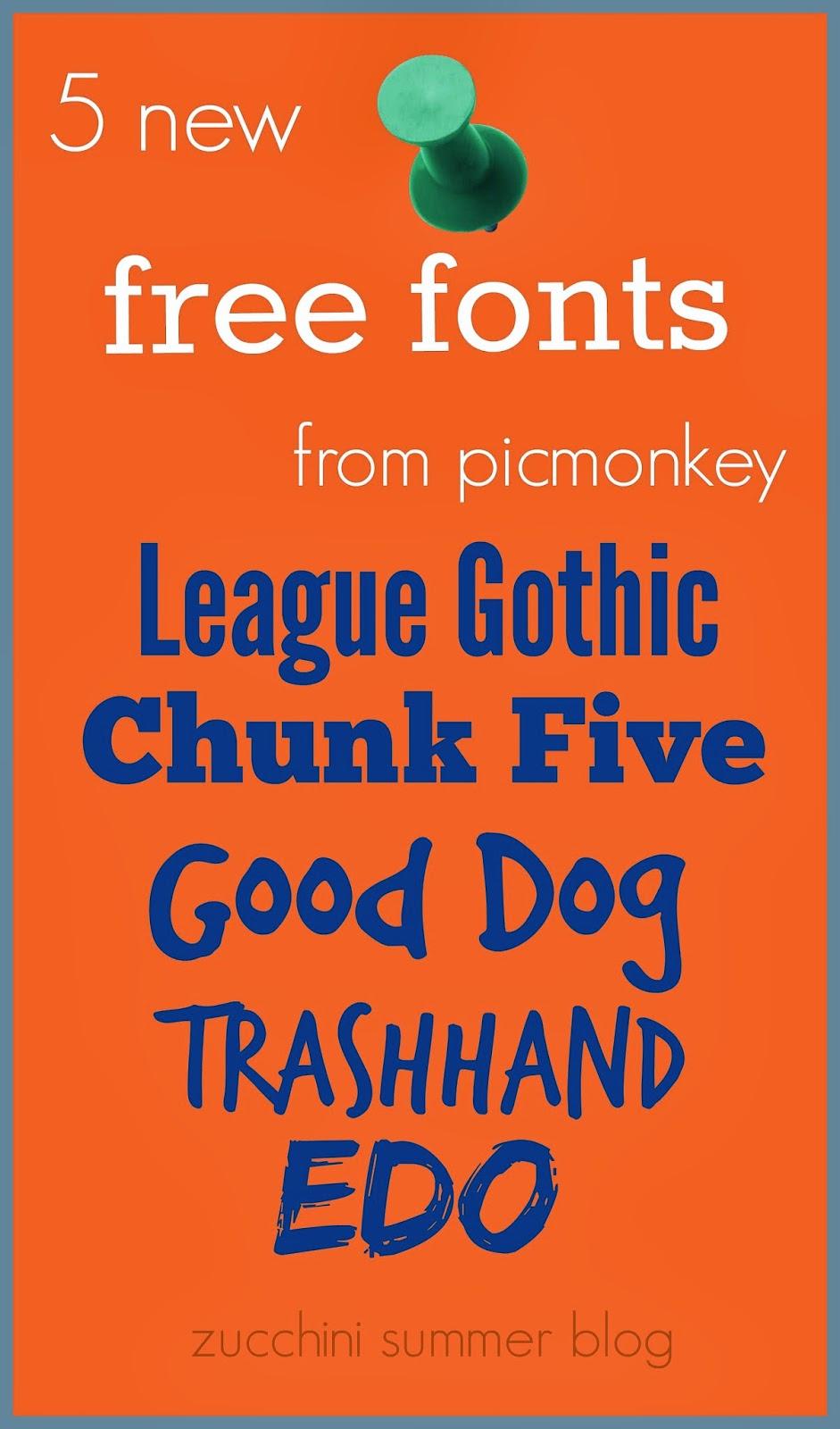 picmonkey fonts, picmonkey free font, good dog font, trashhand font, chunk five font, EDO font, League gothic font