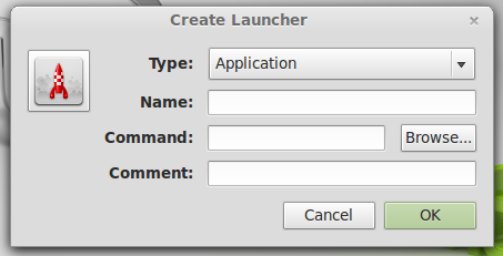 create a launcher in Linux Mint 13 Cinnamon