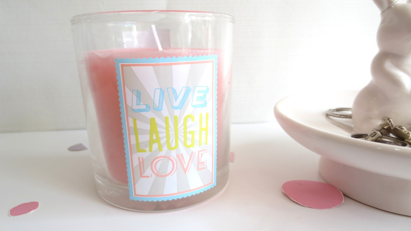 live laugh love unscented pink candle typography