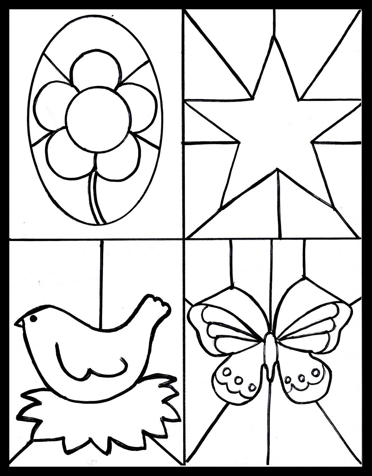 Use This Free Printable With Some Crayons Colored Pencils Or Markers To Create Cute Stained Glass Images For Your Windows