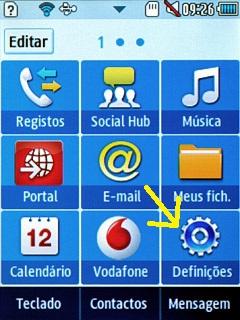 Definições celular Samsung Corby II