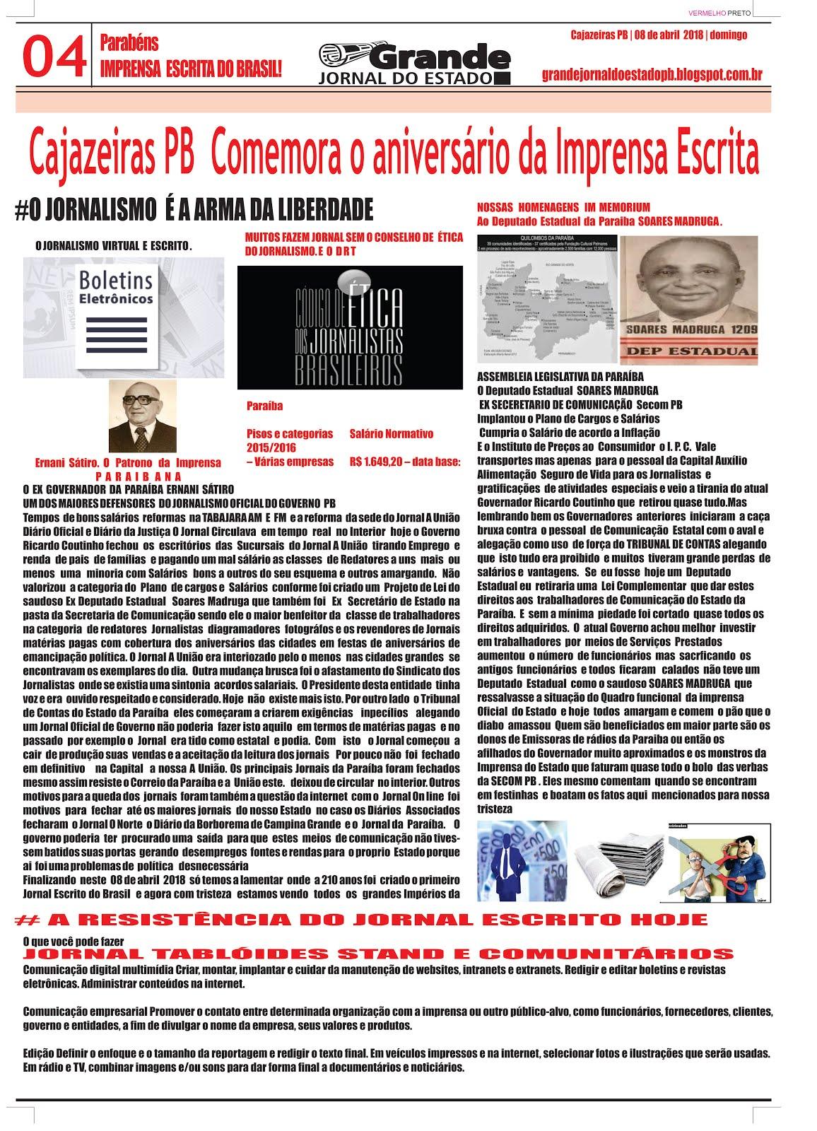 GRANDE JORNAL DO ESTADO  TEMA   O JORNALISMO DA PARAÍBA  ESTA FALIDO