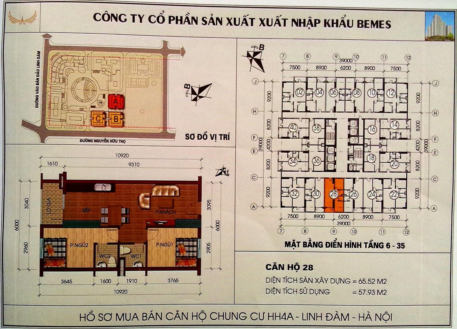 Thiết kế căn hộ số 28 diện tích 65m2 chung cư HH4A Linh Đàm