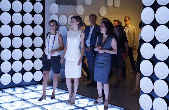 Queen Letizia of Spain and Spanish Minister for Agriculture Isabel Garcia Tejerina attend to visit the Spanish Pavilion