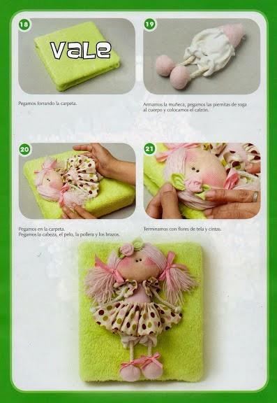 Bonequinha simpática de tecido com moldes