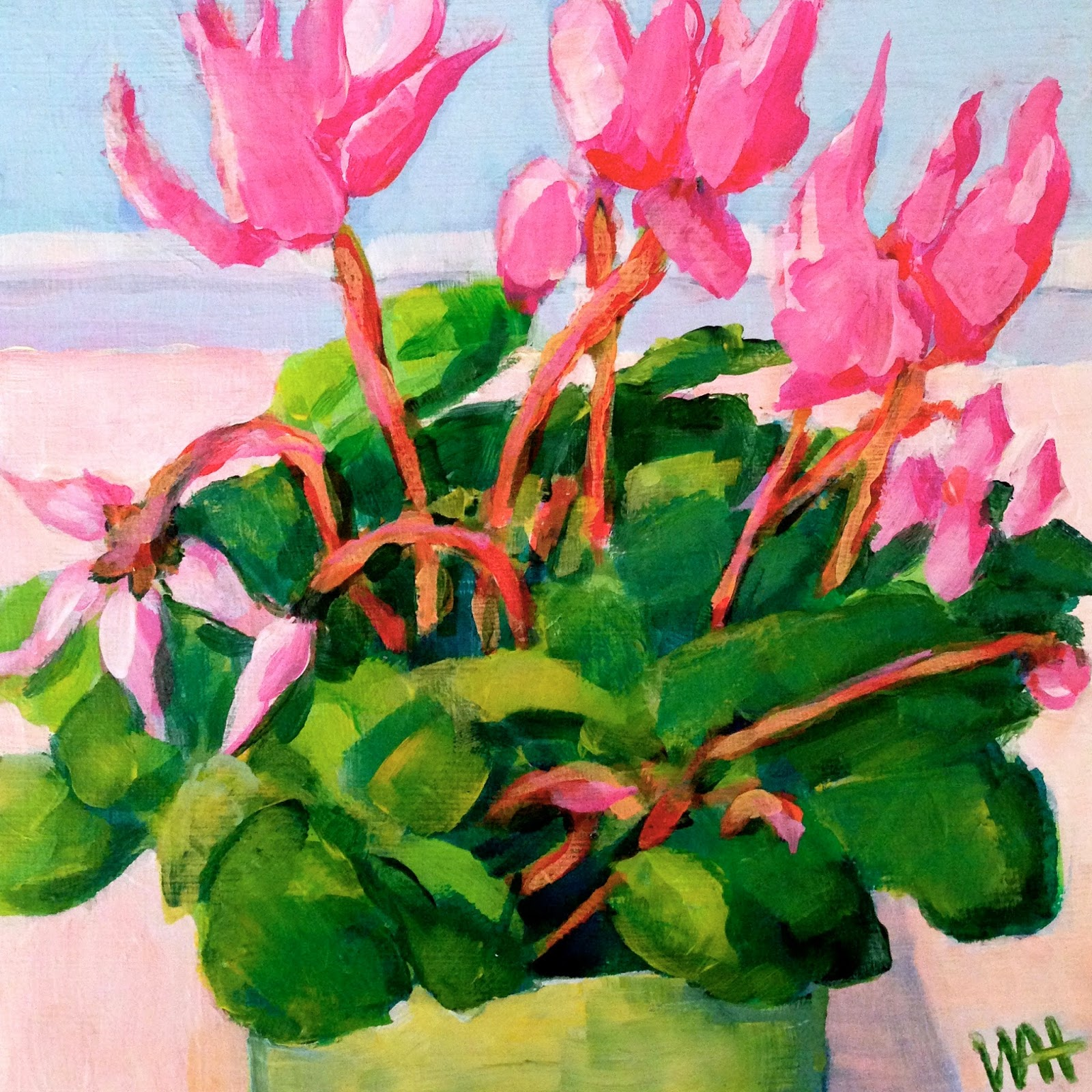 Pink flower painting by Whitney Heavey