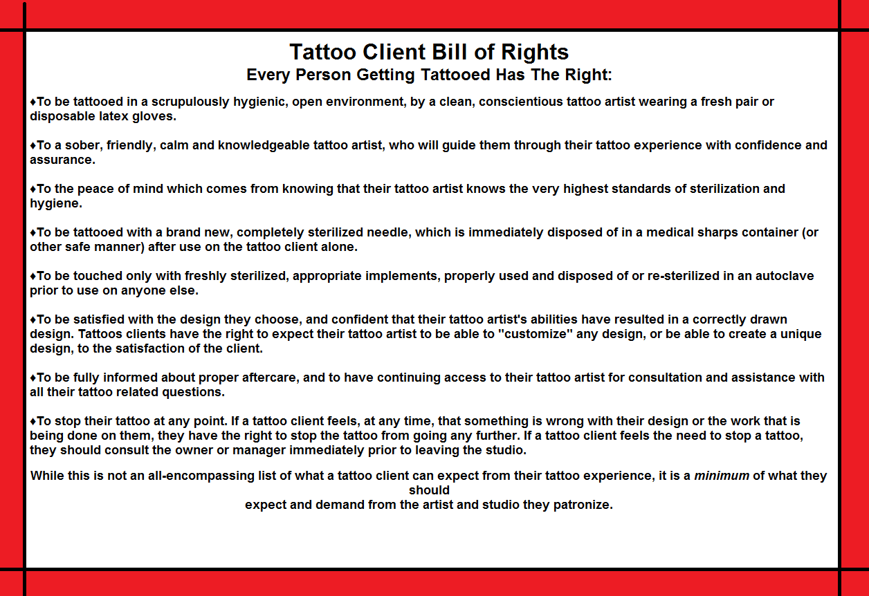 sonic styles tattoo: tattoo client bill of rights