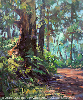 Plein air oil painting. Karri tree, Porongurup.