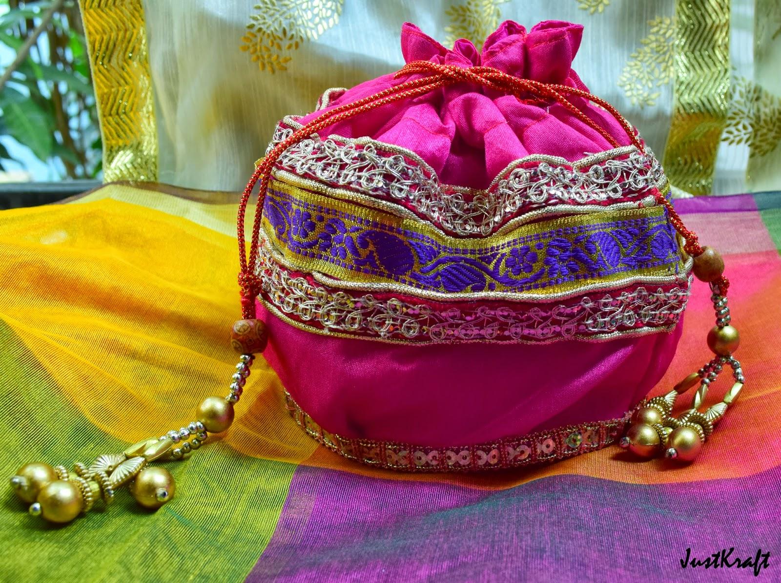 Pink Raw Silk Polti or Drawstring bags