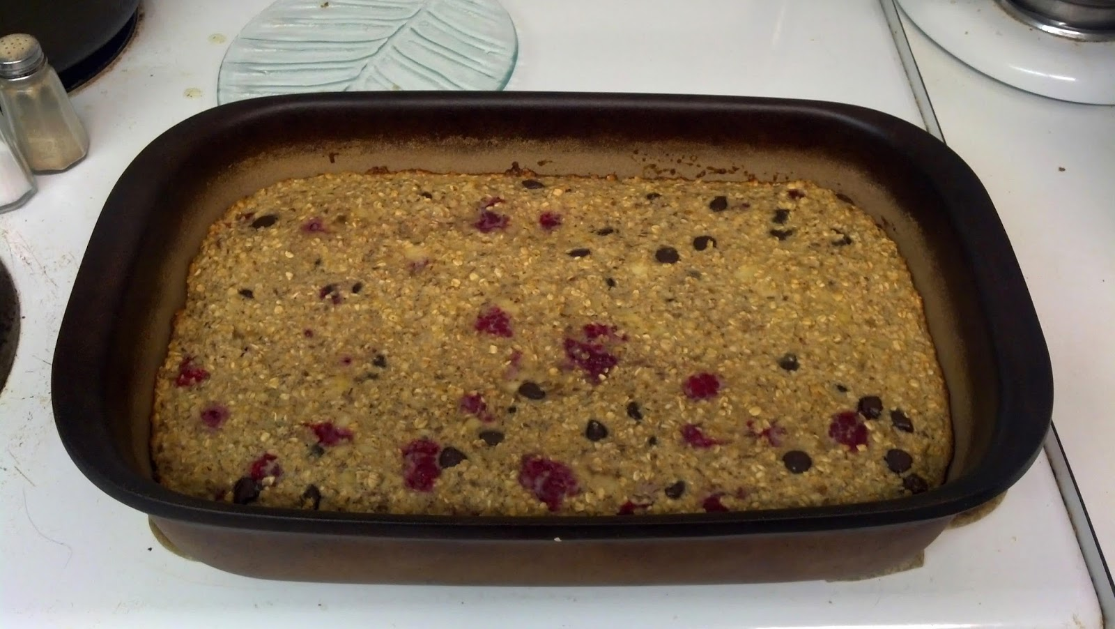 #Raspberry #chocolate #walnut baked #oatmeal
