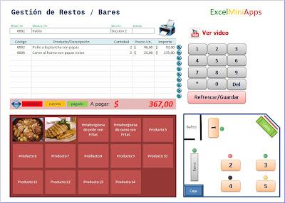 Mini aplicaciones en excel gestor de restos y bares con for Formatos y controles para restaurantes gratis