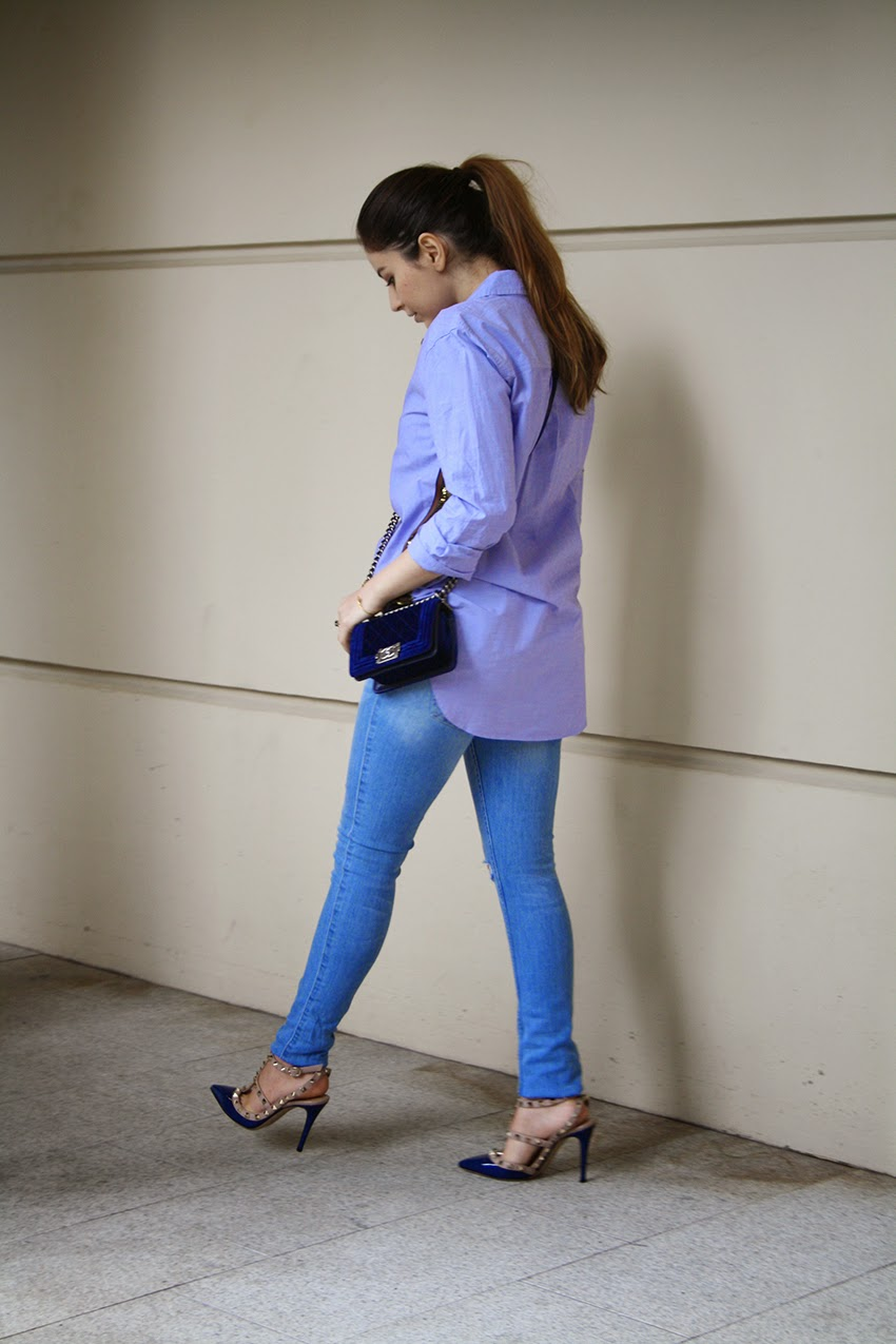 Vancouver, Style, Fashion, Street Style, Fashion Blogger, Outfit, Fall, Blues, Pony Tail, Chanel, Sequin