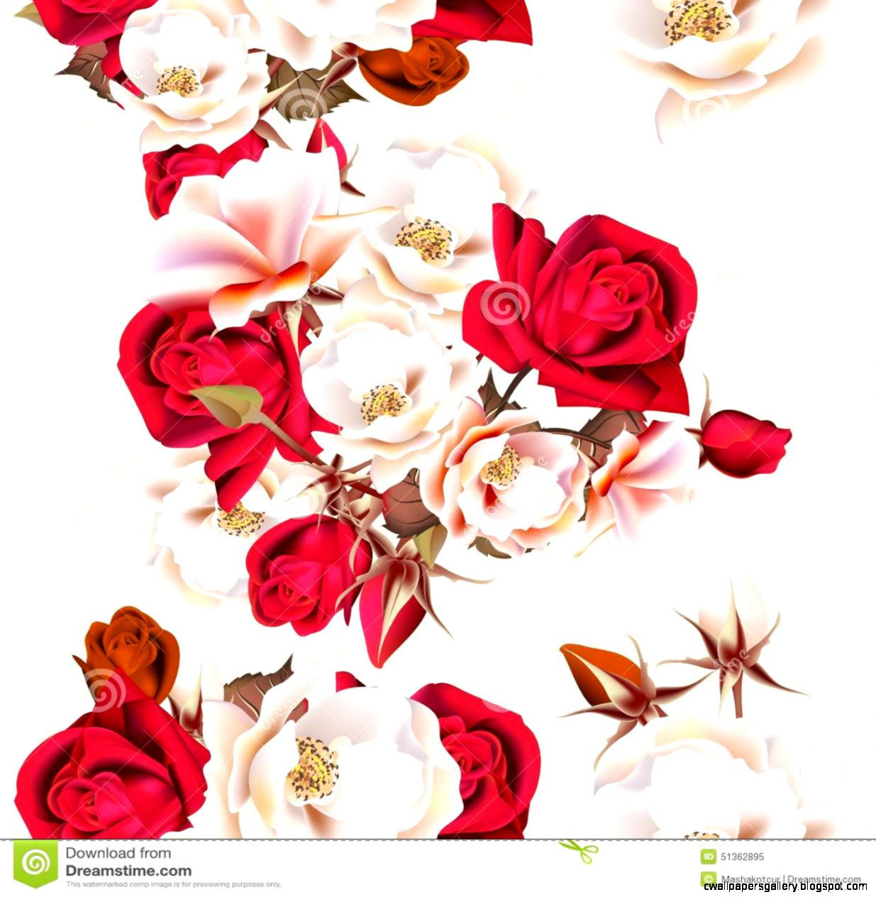 Fl Seamless Pattern With White And Red Roses In Vintage Styl