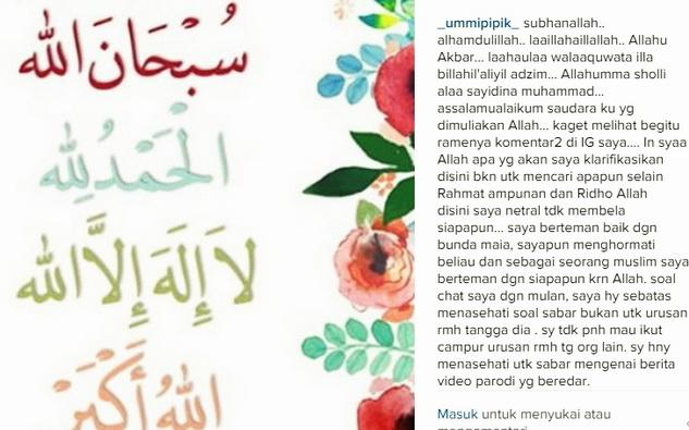 Diserang Haters Mulan Jameela, Begini Klarifikasi dari Ummi Pipik