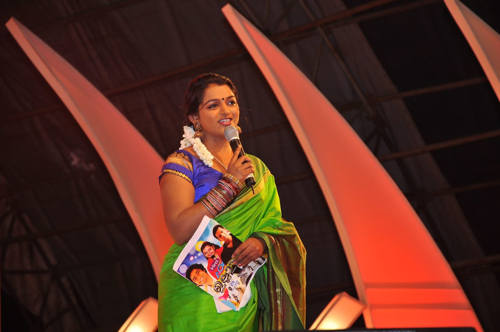 Meera Anil latest hot photos in saree from ACV Ullasam stage show