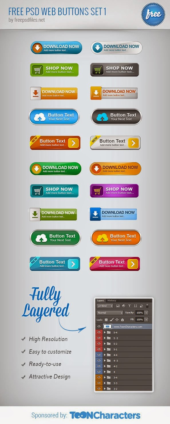 Free Web Buttons PSD Set