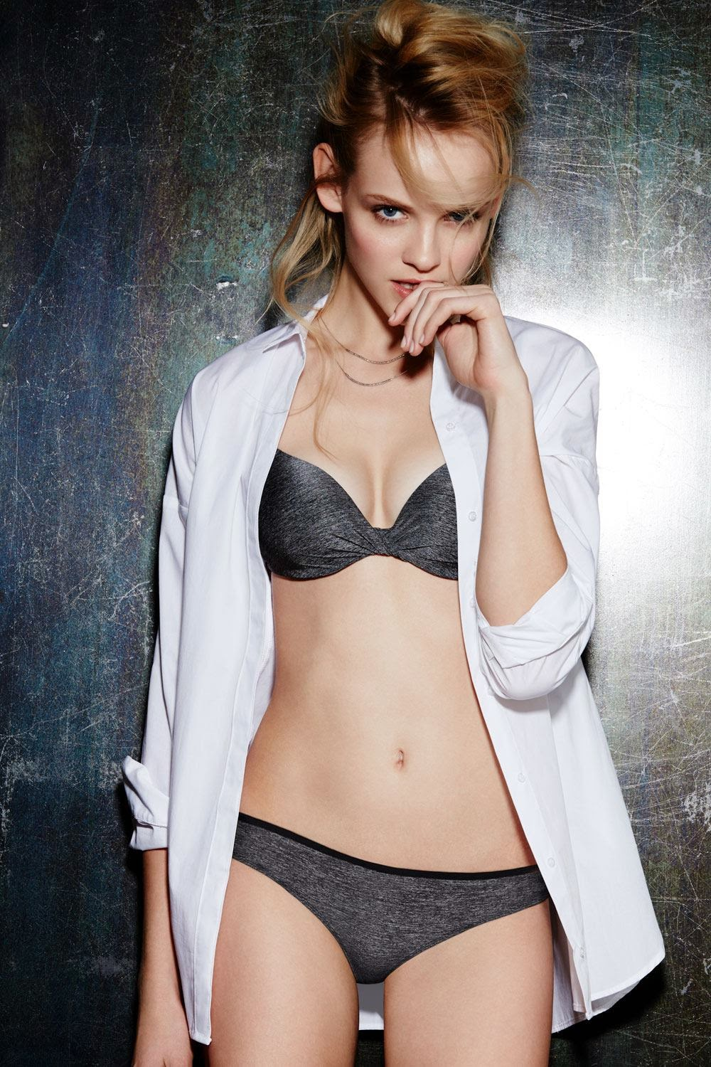 Ginta Lapina poses for La Senza Lingerie 2015 Lookbook