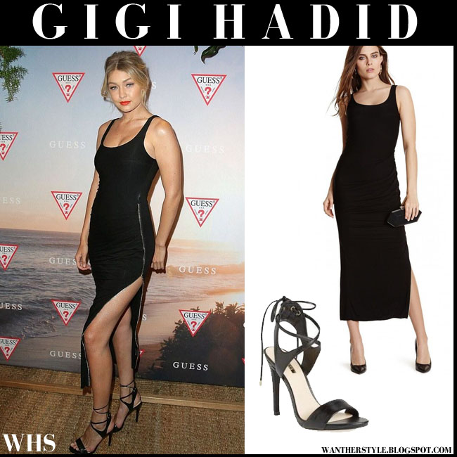 Gigi Hadid in black side slit maxi Guess Flaure dress and black Guess Christa sandals what she wore august 4