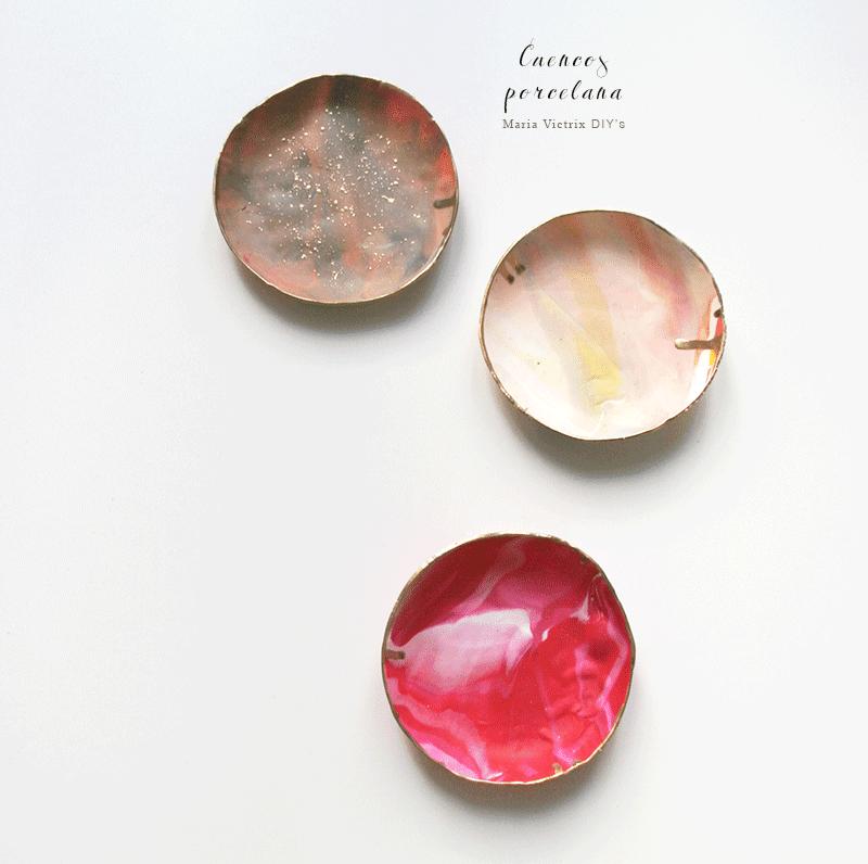 DIY: Cuencos de porcelana amarmolado
