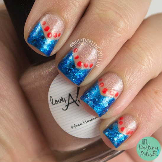nails, nail art, nail polish, negative space, chevron, polka dots, blue, indie polish, orange, hey darling polish, oh mon dieu part deux