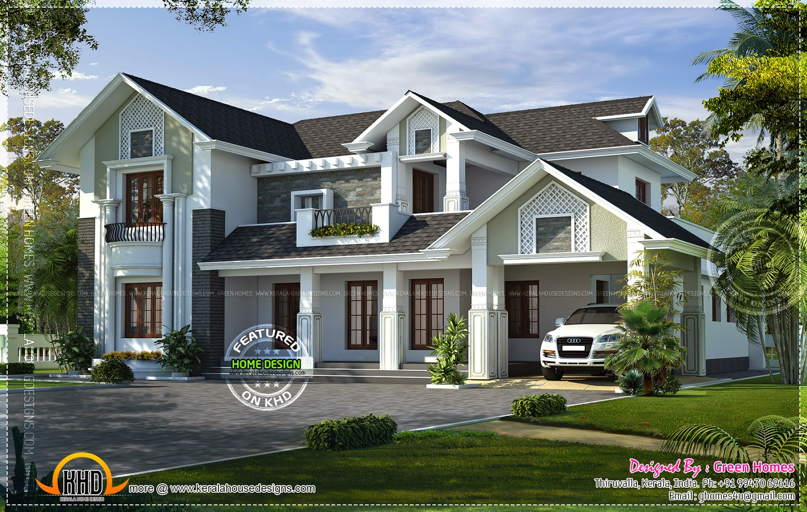 Western style house rendering kerala home design and for Western home plans