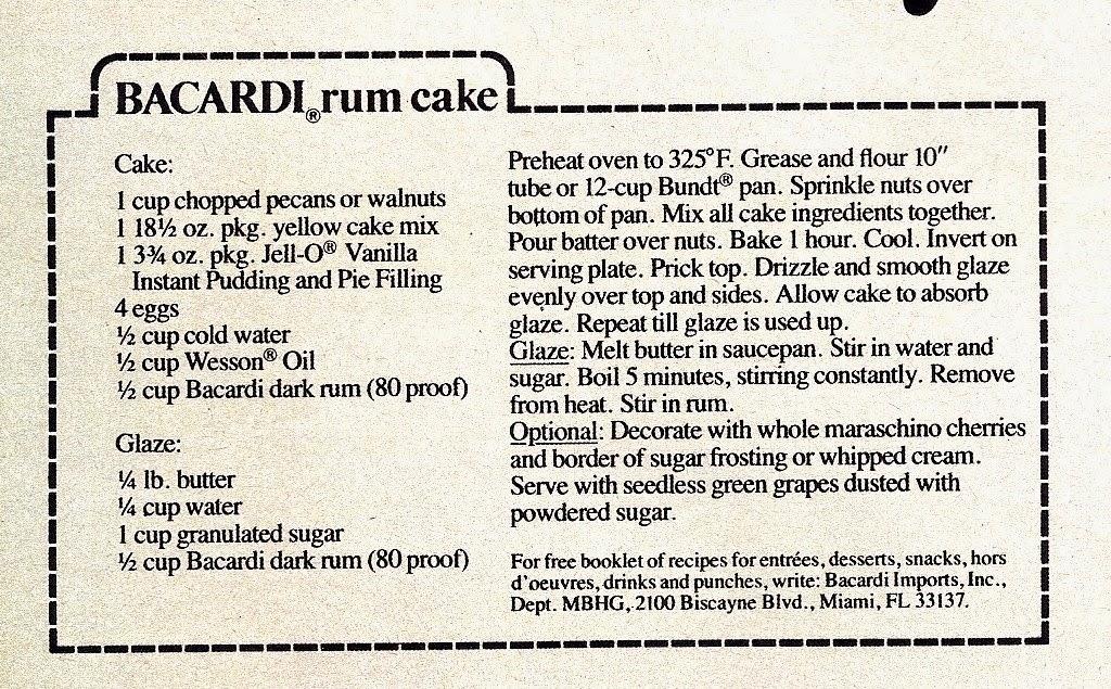 Original rum cake recipe