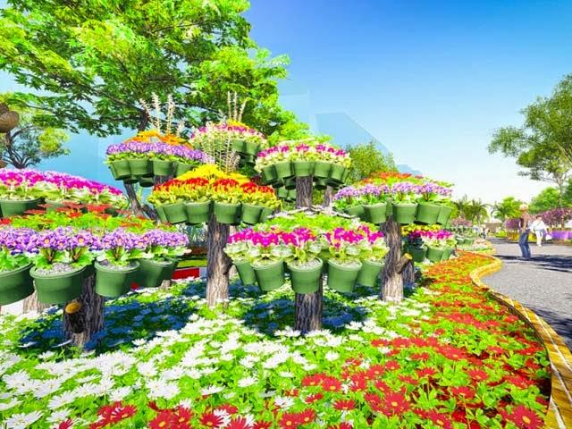 Hình ảnh tuyệt đẹp đường hoa Hàm Nghi Tết Ất Mùi 2015
