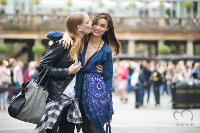 Model Hollie May Saker and Luma Grothe at London Fashion Week 2015 Spring Summer LFW