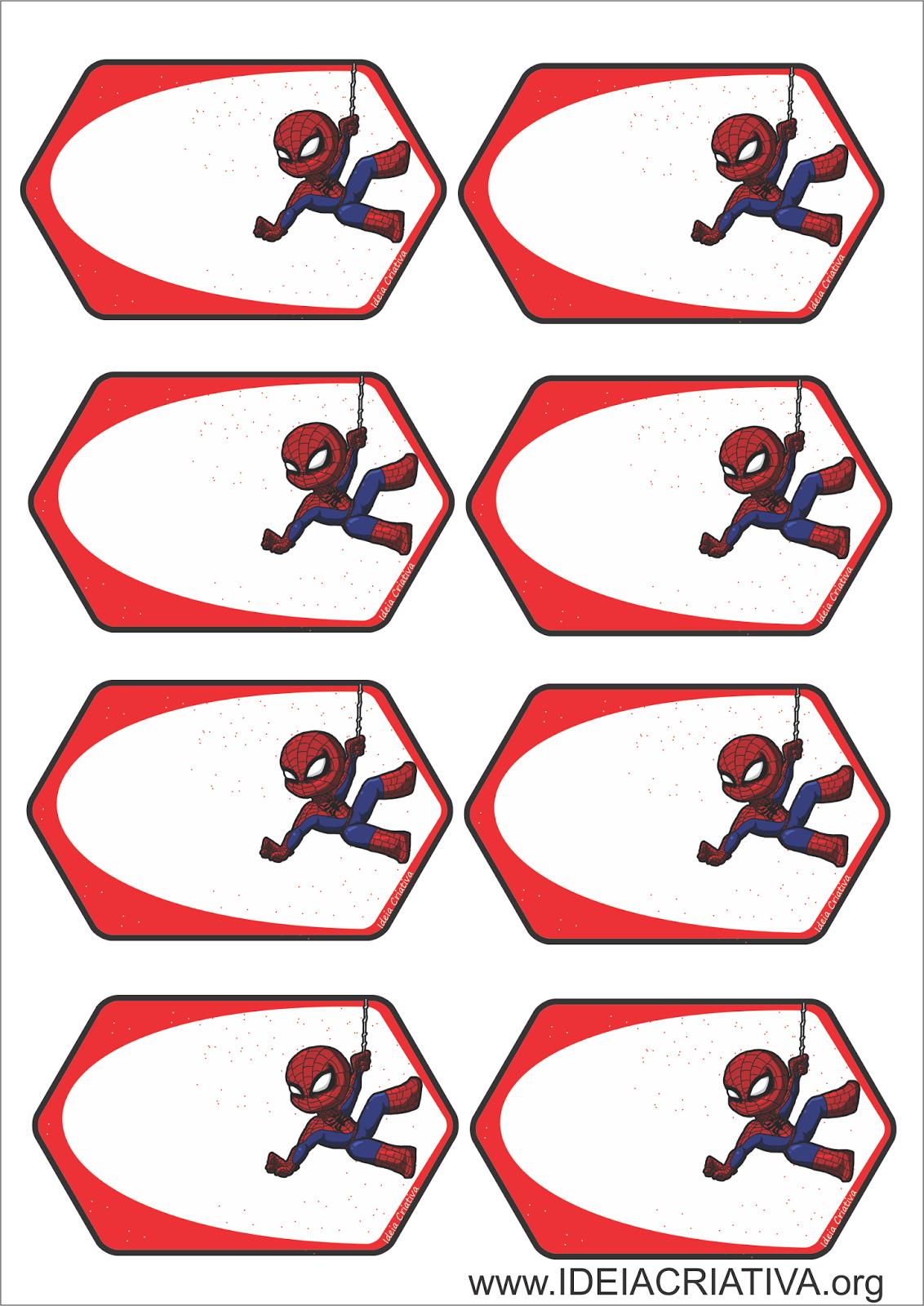 Etiquetas Homem Aranha para Organizar Material Escolas