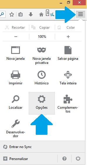 Menu de Opções do Firefox