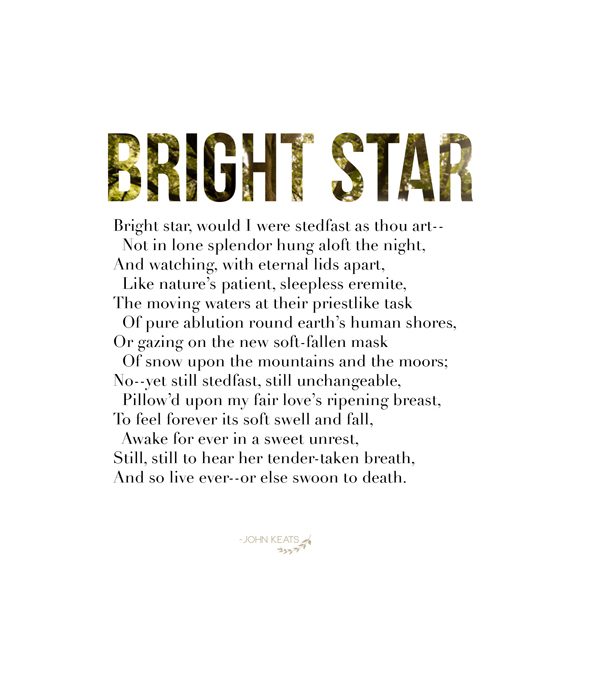 a literary review of bright star a poem by john keats All of john keats poems john keats poetry collection from famous poets and poems famous poets and poems: home   poets   poem of the month  bright star.