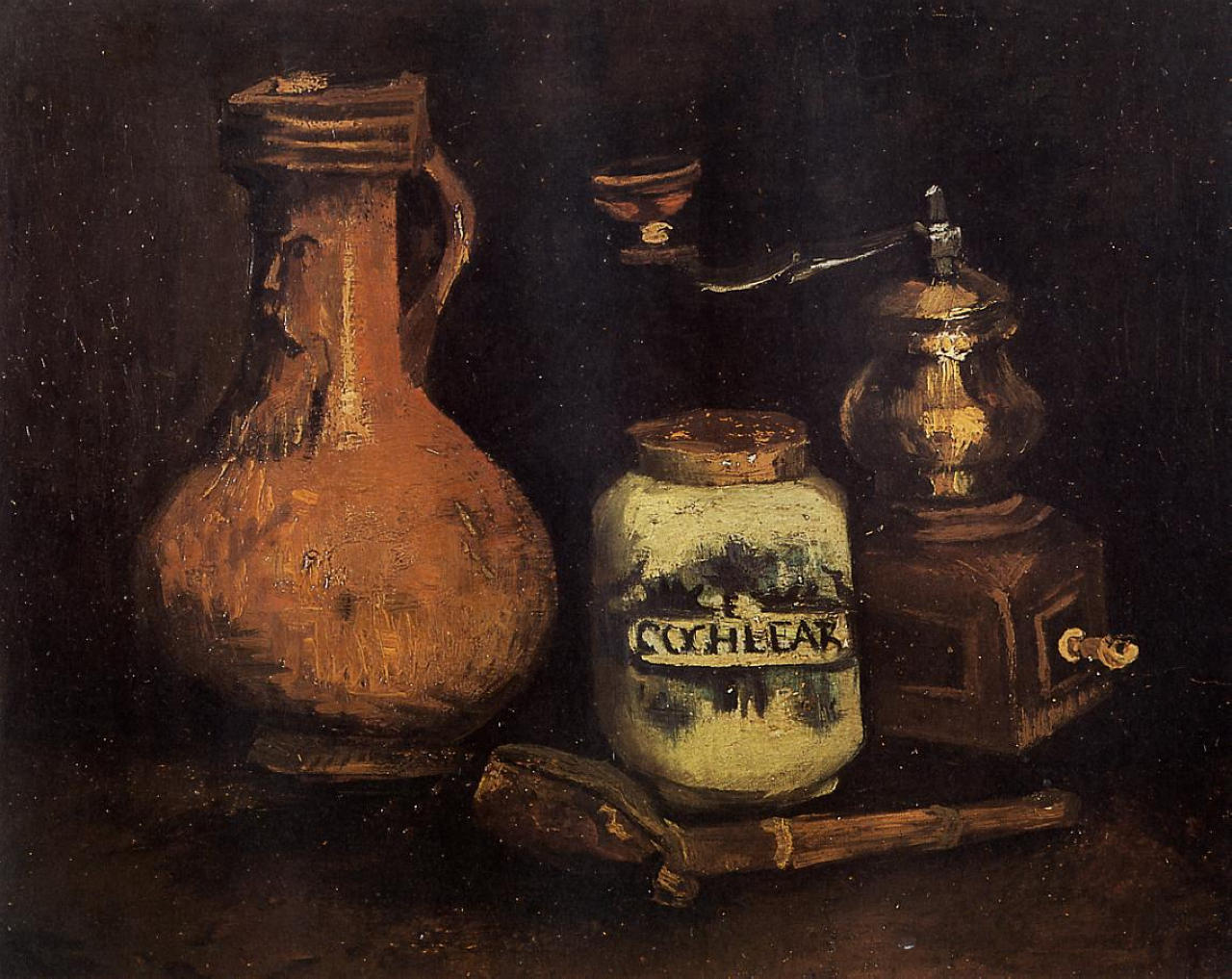 Still Life with Coffee Mill, Pipe Case, and Jug (F 52, JH 535) by Vincent van Gogh