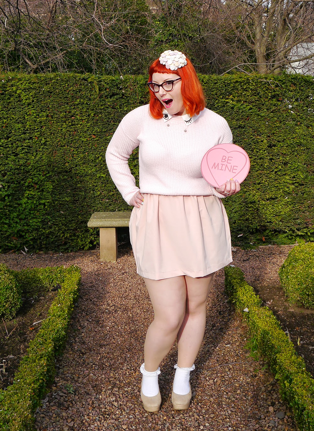 Valentine, Valentine's Day, Love Heart sweets, Sweet Inspired Outfit. Valentine's Day style, Valentine outfit, All pink outfit inspiration, She Inside winking jumper, Wear Eponymous pink skirt, H&M nude flatform shoes, Topshop frilly socks, Charcot necklace, giant lovehearts, Lovehearts headpiece, sweet hat, sweetie fascinator, Scottish Blogger