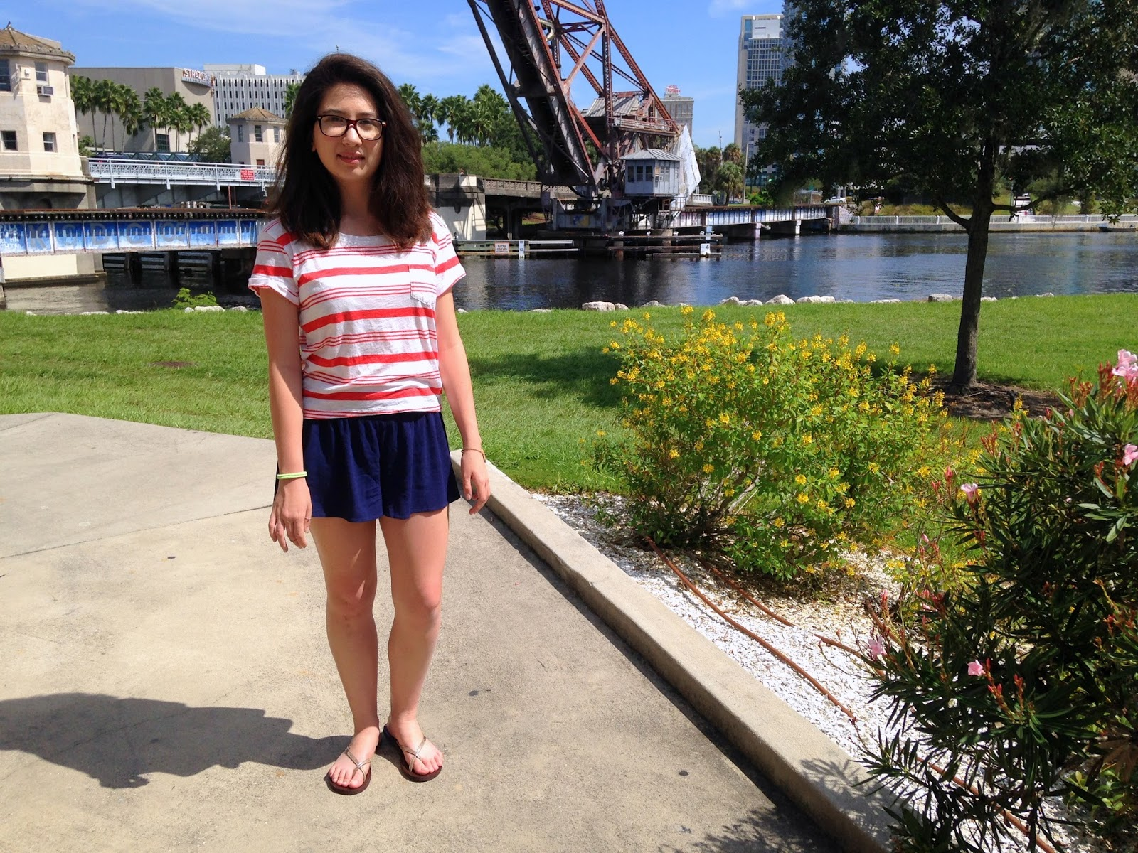 happy fall stripes and tap shorts navy outfit, hollister sandals, how to wear hollister in a cute way, macys, bargain shopping, 8 dollar outfit, 4 dollar shorts and shirt, asian, tumblr, sunny, filipino, mixed, hott dot com bracelet