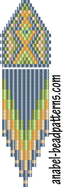 Схема сережек с бахромой - мозаичное плетение