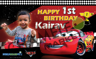 Cars, Mcqueen Themed Birthday Banner and Invitations with child photo