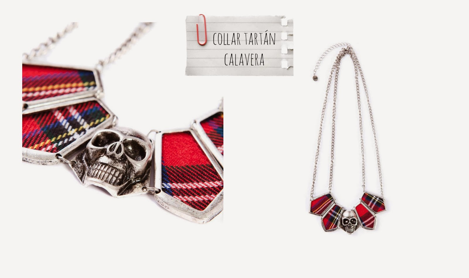 Collar Tartán Calavera - Pull and Bear