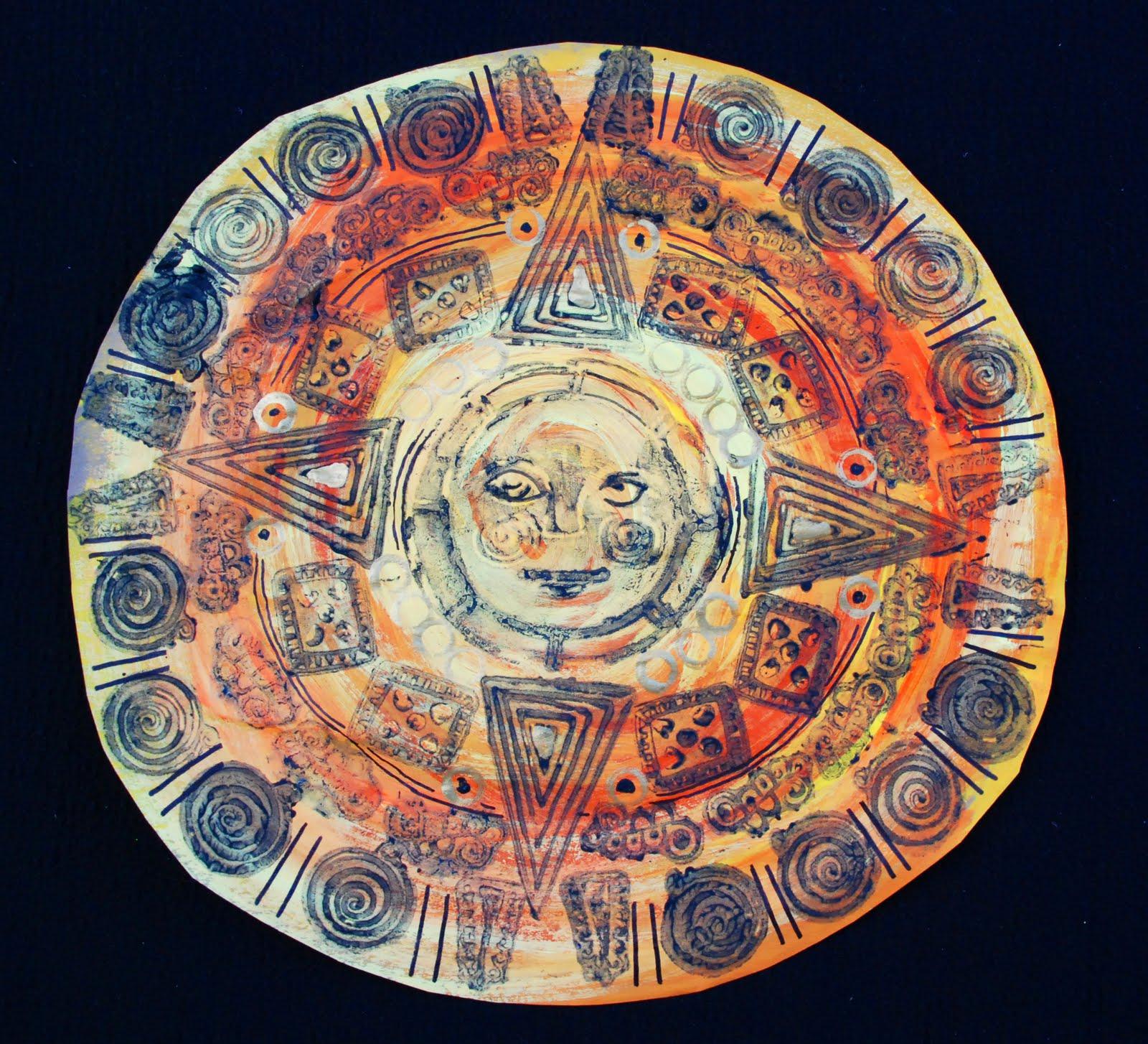 Aztec Calendar Art Lesson : That artist woman aztec sun stones