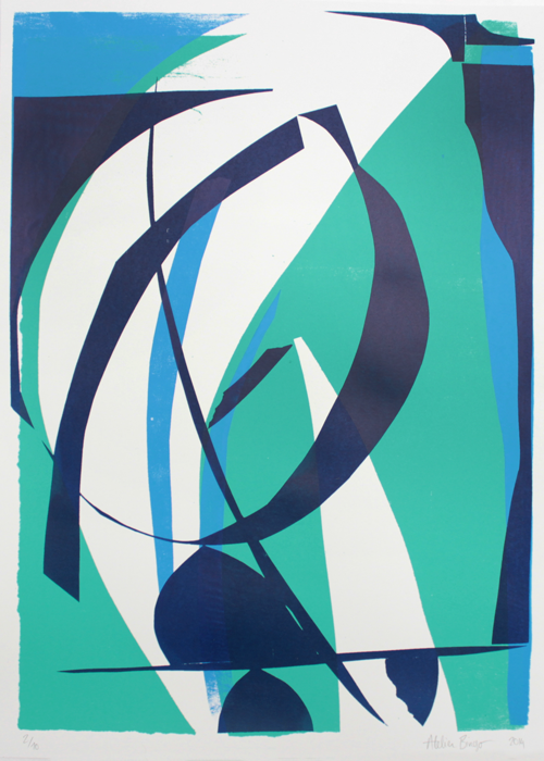 Silkscreen, blue, green, black, white