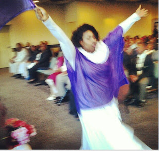 praise in motion, Hands lifted with purple flag Copyright 2012 Katina Davenport