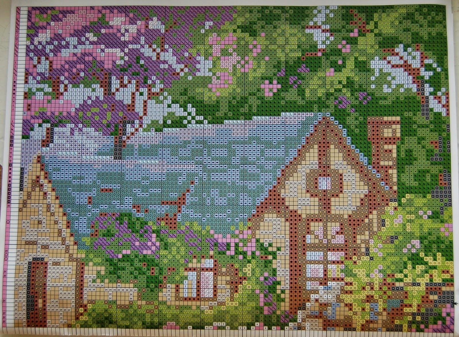 Вышивка пейзаж весна схемы