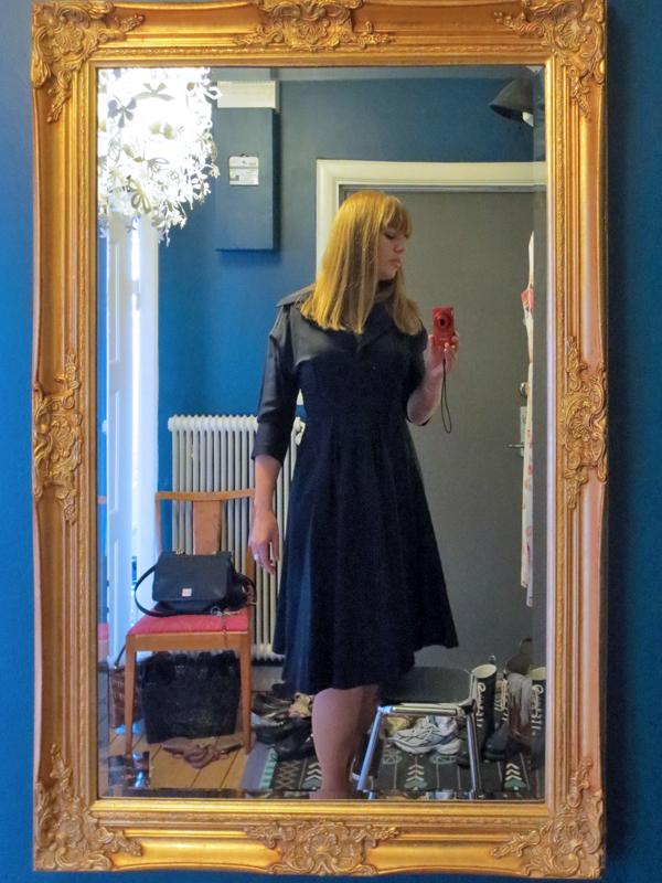 Vintageklänning sidenrips