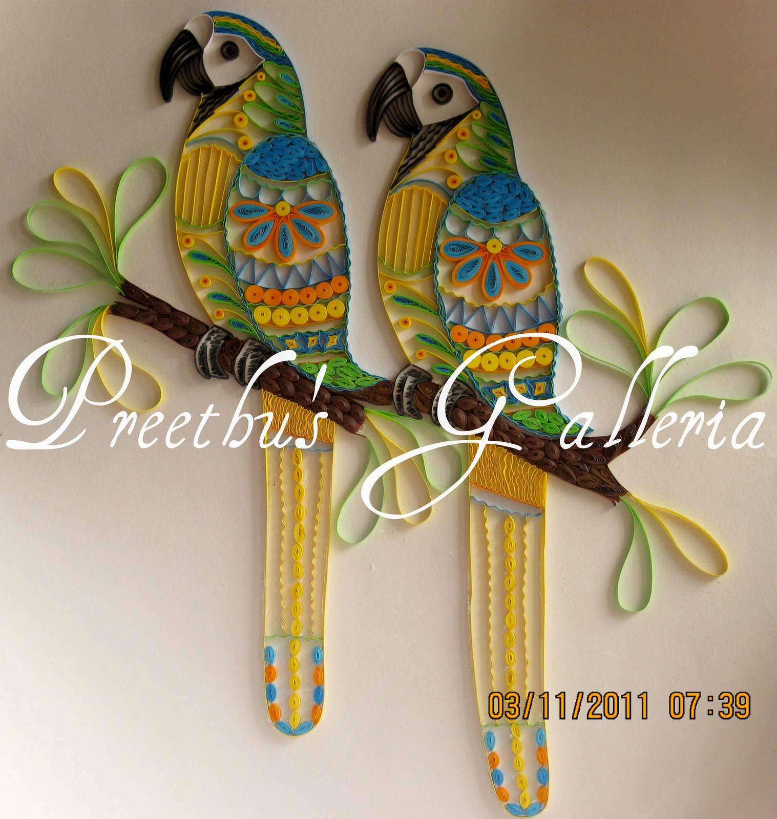 Preethu 39 s galleria first uae quilling exhibition parrots with