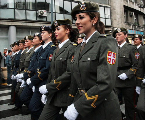 Serbian female soldiers rock