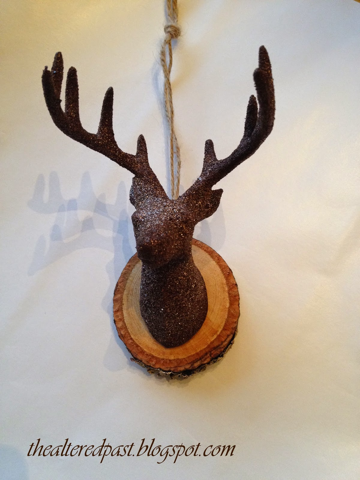 deer head ornament, wood slice, the altered past blog
