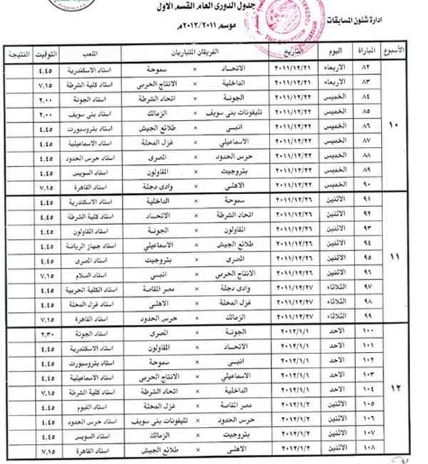 جدول مباريات الدوري المصري الاسبوع 13