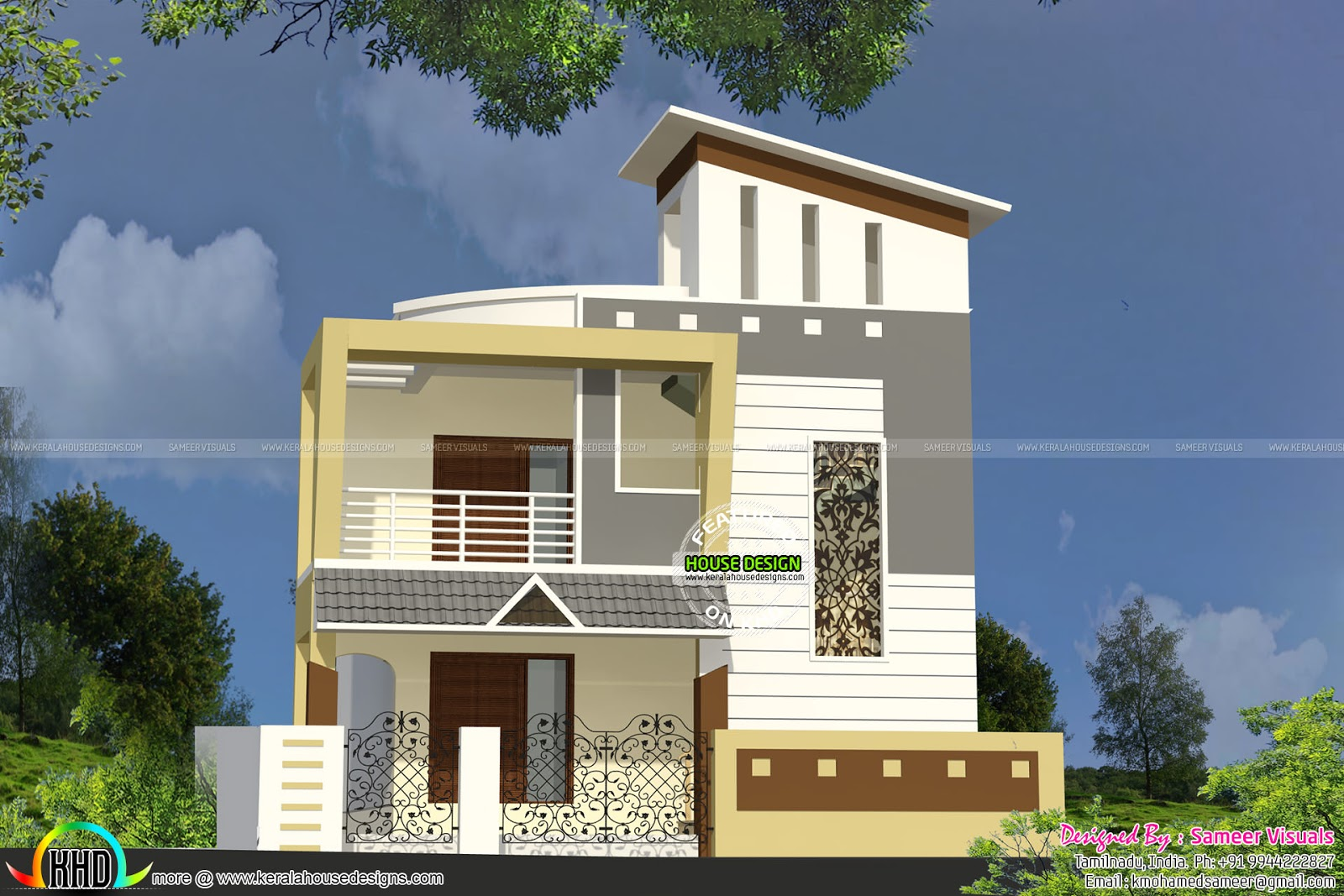 Double floor small home kerala home design and floor plans for House elevation models